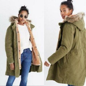 Madewell Bedford Convertible Faux Fur Lined Coat